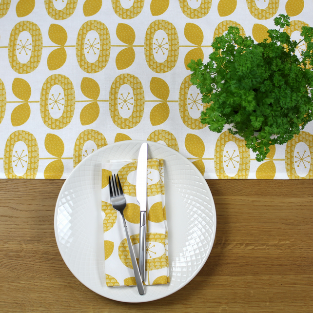 Yellow Bloom Flower Napkin