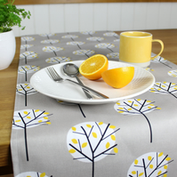 Grey Moonlight Tree Fabric Table Runner