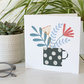 Black Spot Flower Vase Greetings Card