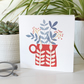 Red Flower Vase Greetings Card