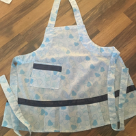 Childs blue heart kitchen arts and crafts apron