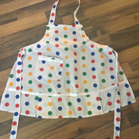 White spotty childs apron