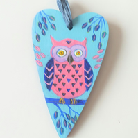 wooden heart with cute owl 2