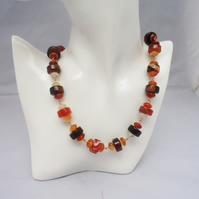 Agate and Carnelian Necklace, Gemstone Necklace in Brown