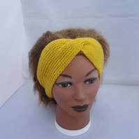 Hand Knit Turban, Women Headband, Yellow Headband