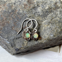 Tiny Crocheted Opal Earrings