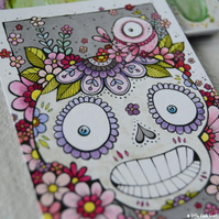 floral skull, bird and blooms - original aceo