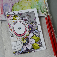 big floral skull - original aceo