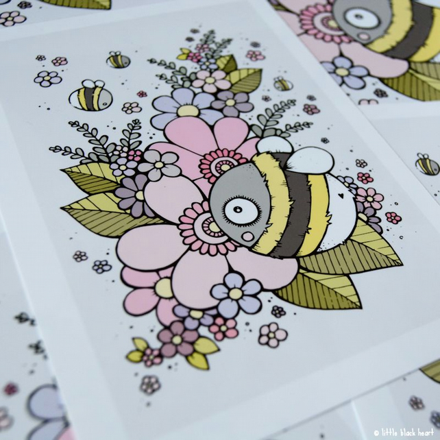 bee and blossom - A5 print