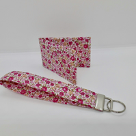Wrist strap key ring with matching card holder pink floral fabric