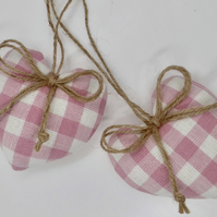 Pair heart shaped decorations Laura Ashley pink check small size