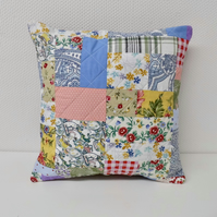 Colourful random patchwork cushion zero waste project