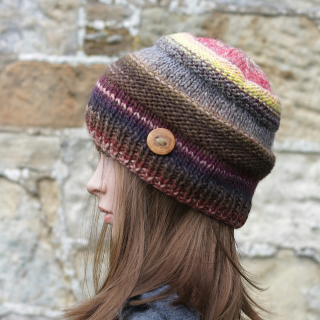 Beanie hat knitted multicolor women's cap