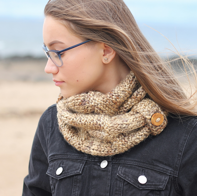 SCARF, knitted infinity loop scarf, cowl, snood, chunky sandy beach shade scarf,