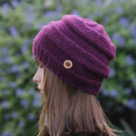 HAT knitted wool, winter autumn hat, women's beanie cap cranberry shade, gift fo