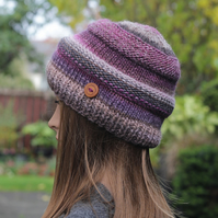 HAT knitted purple mix, winter hat, beanie cap, women's gift, UK