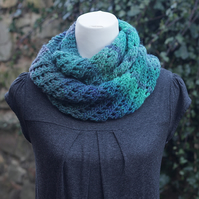 SCARF knitted infinity - green blue diagonal lace cowl, snood, women's knitwear