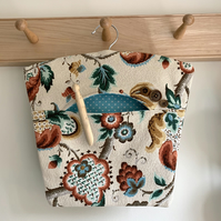 Vintage barkcloth peg bag