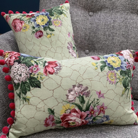 Vintage linen cushion cover with pompoms