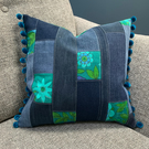 Vintage Roundelay and patchwork denim cushion
