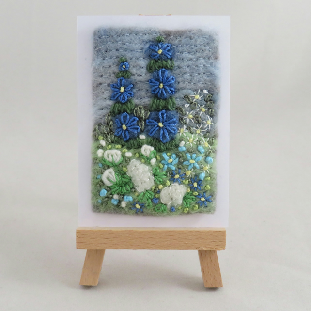 ACEO Rose Garden - Blue and White