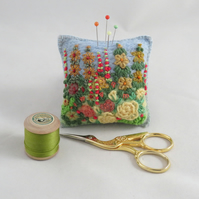 Golden Rose Garden Pincushion - felted and embroidered