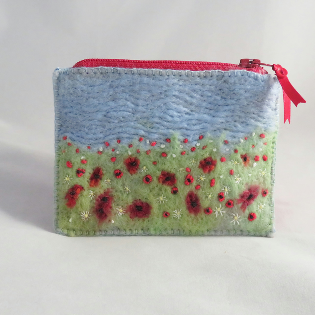 Poppies Design - Felted and Embroidered Zipped Purse