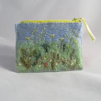 Meadow Design - Felted and Embroidered Zipped Purse