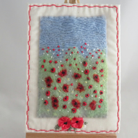 Poppies Embroidered and Felted Textile Hanging