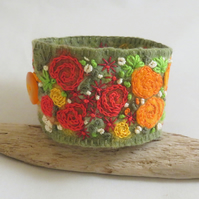 Embroidered and Felted Cuff - Crimson and Orange Roses