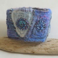Felted and Embroidered - Blue Geometric Pattern