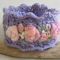 Embroidered and Knitted Cuff - pink roses on lilac knitted lace