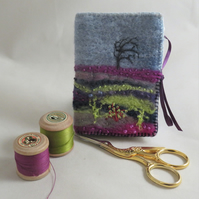 Heather Moorland  Needle Book - Embroidered and felted