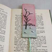 Winter Sunset - embroidered and painted bookmark