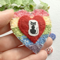 Cute and Quirky Rainbow Cat Brooch. Heart Brooch. Felt Brooch. Rainbow Brooch