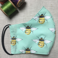 Reusable Mint Bee Cotton Mask with Filter Pocket Men Women Child Sizes