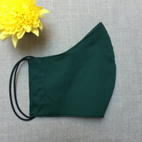 Reusable Plain Dark Green Cotton Fabric Face Mask Covering Adult Child School