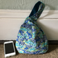 Small Reversible Japanese Knot Bag with Japanese Turquoise Tiny Blossoms Fabric