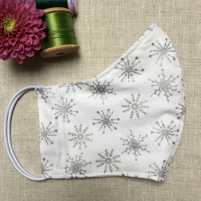 Silver Snowflakes on White Cotton Fabric Reusable Face Mask Adult Child