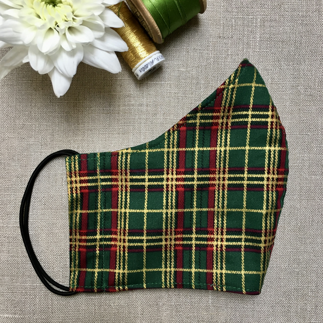 Reusable Green and Gold Tartan Christmas Cotton Fabric Face Mask Adult Child