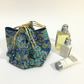 Turquoise Tiny Blossoms Japanese Rice Bag Gift Bag Reversible