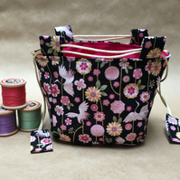 Pink and Black Cranes and Vines Gilded Japanese Rice Bag Gift Bag Make Up bag
