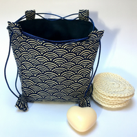 Medium Sized Blue Seas and Waves Japanese Rice Bag Gift Bag
