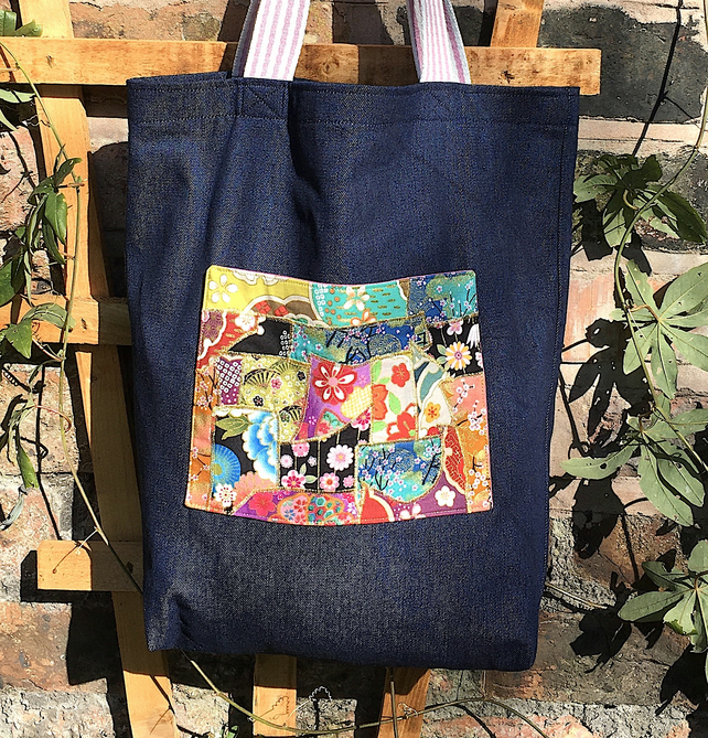 Denim Tote Bag with Japanese Fabric Pocket and Internal Pocket