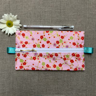 Pink Japanese Blossoms Fabric Pencil Case