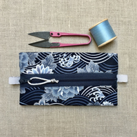 Silver and Blue Japanese Waves and Flowers Trinket Pouch Small Zipped Case