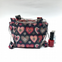 Hearts and Flowers Rice Bag Gift Bag Pink and Grey
