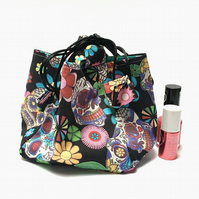 Skulls and Flowers Rice Bag Gift Bag Drawstring Day of the Dead