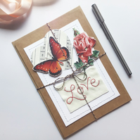 Butterfly Vintage Style Greetings Card