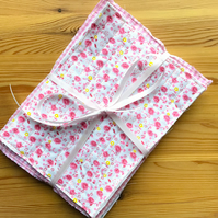 Pink Floral Quilted Fabric Bundle